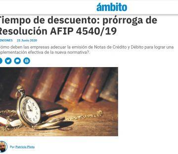 Tiempo de descuento: prórroga de Resolución AFIP 4540/19